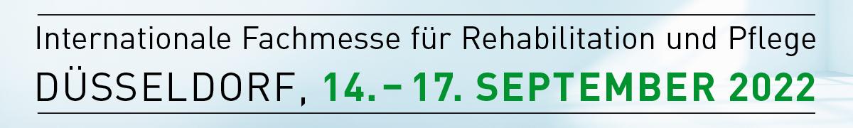 Grafik: 14. bis 17. September 2022, REHACARE Internationale Fachmesse für Rehabilitation und Pflege in Düsseldorf