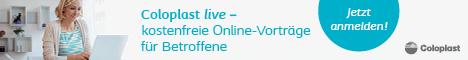 Werbebanner für kostenfreie Online-Vorträge für Betroffene von Coloplast, für die man sich anmelden kann