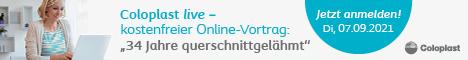 Grafik: Werbebanner Coloplast live – kostenfreier Online-Vortrag